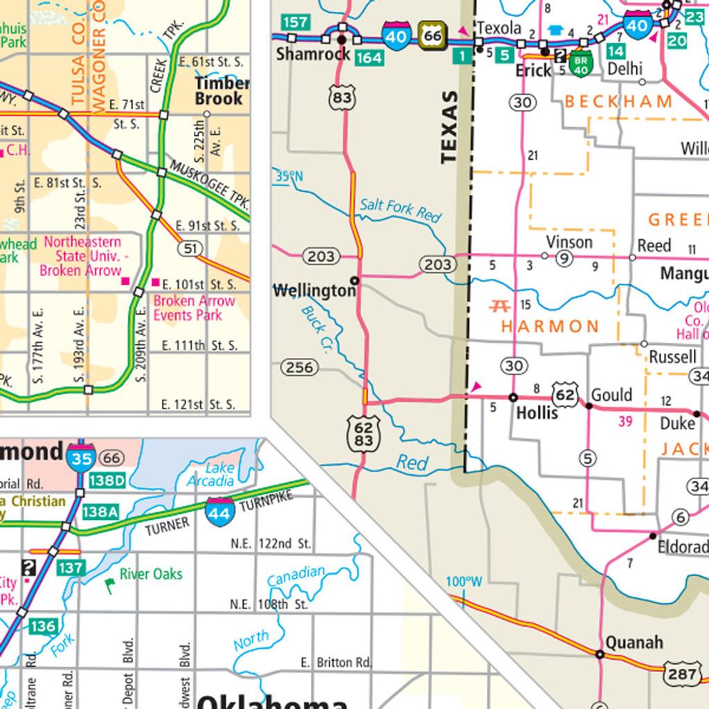 Rand Mcnally Oklahoma State Wall Map