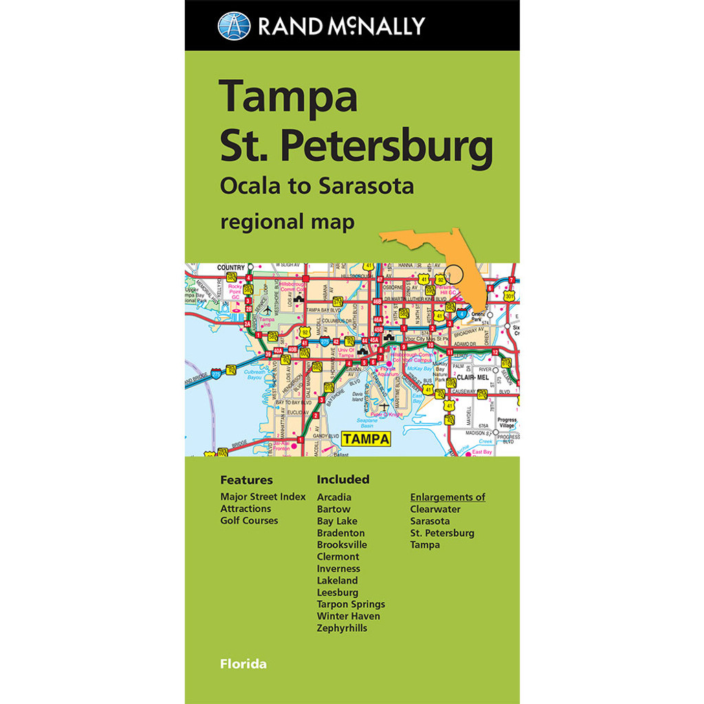 Folded Maps Tampa St Petersburg - Florida map inverness