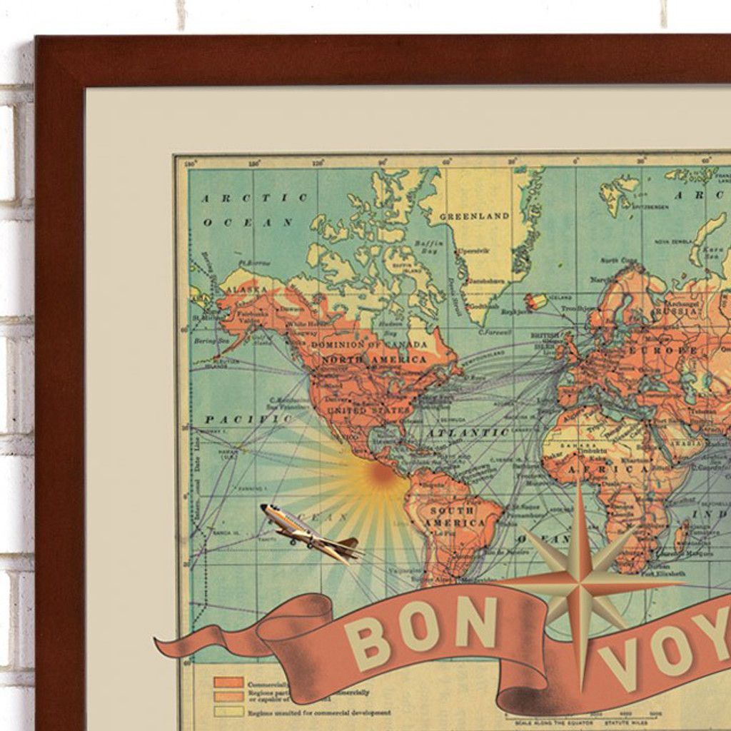 """""""Bon Voyage"""" Lithograph Wall Map"""