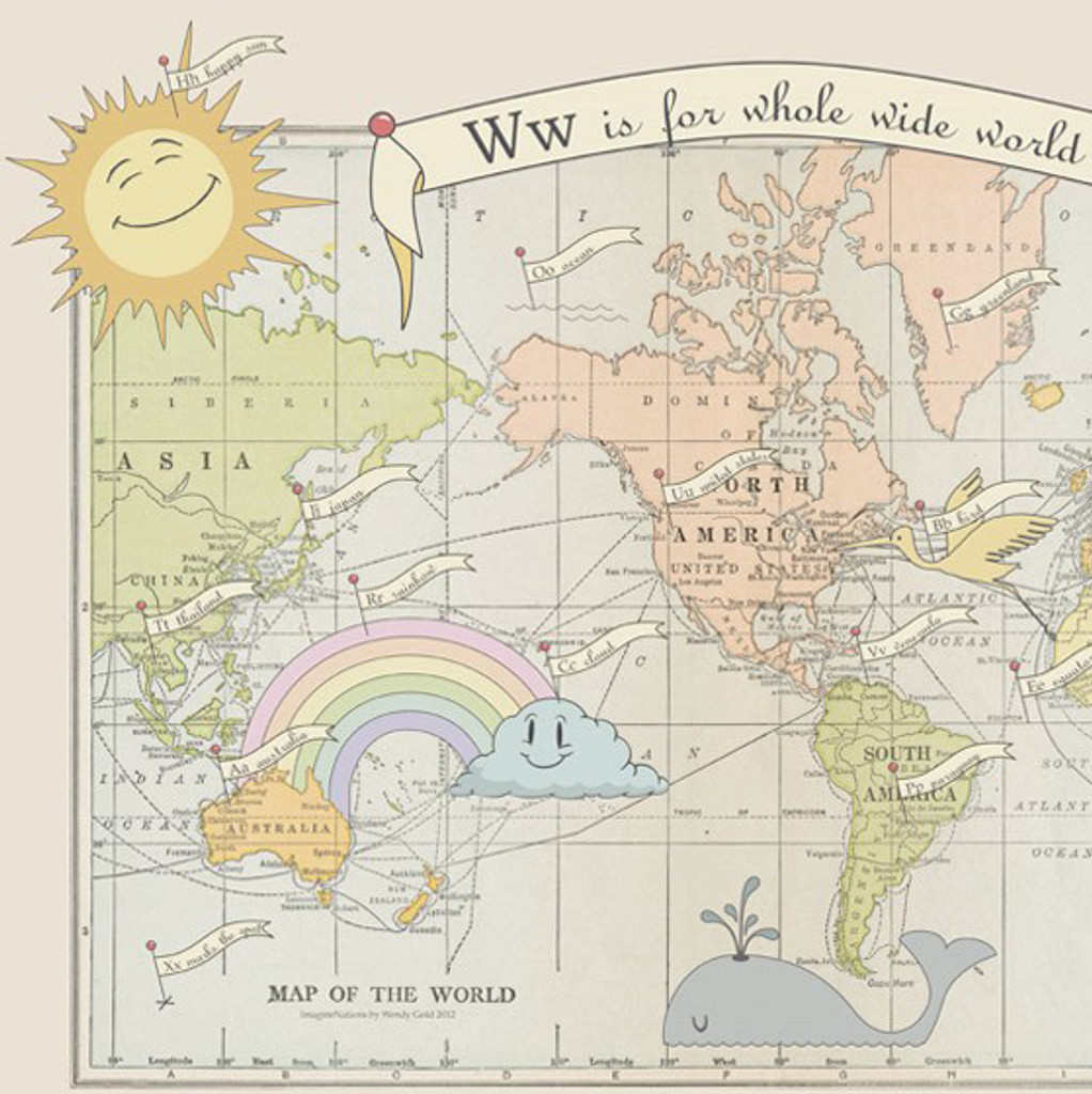 """W is for Whole Wide World"" Lithograph Wall Map"