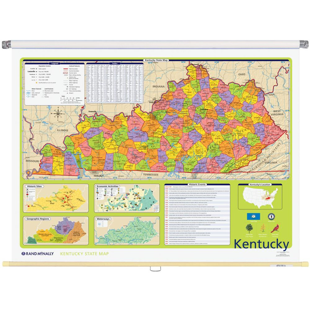 Kentucky Political State Wall Map