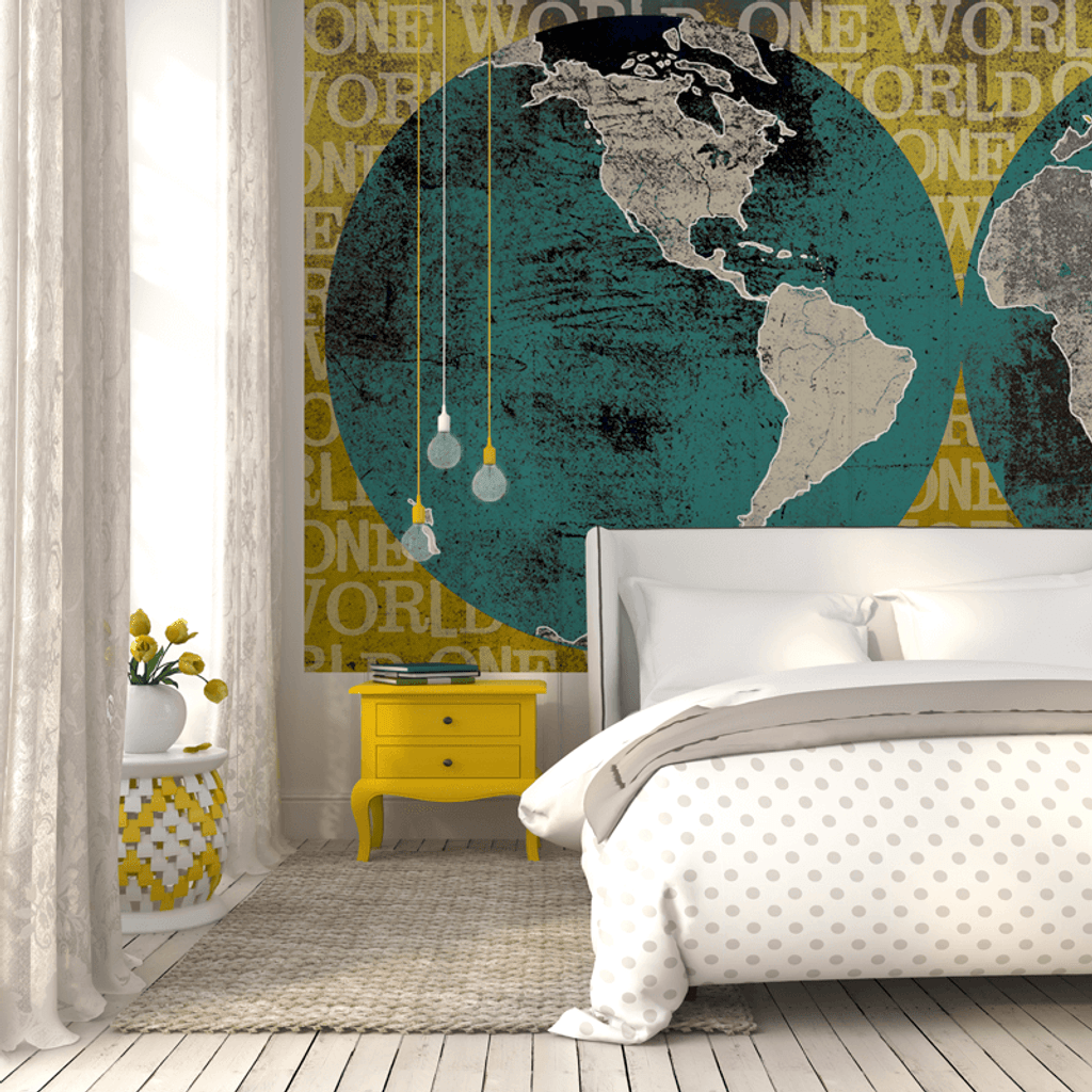 One World Globe Wall Mural