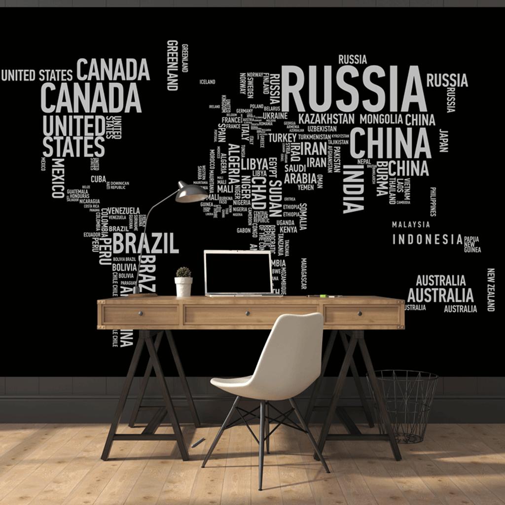 World Map Wall Mural wordcloud world map wall mural - rand mcnally store