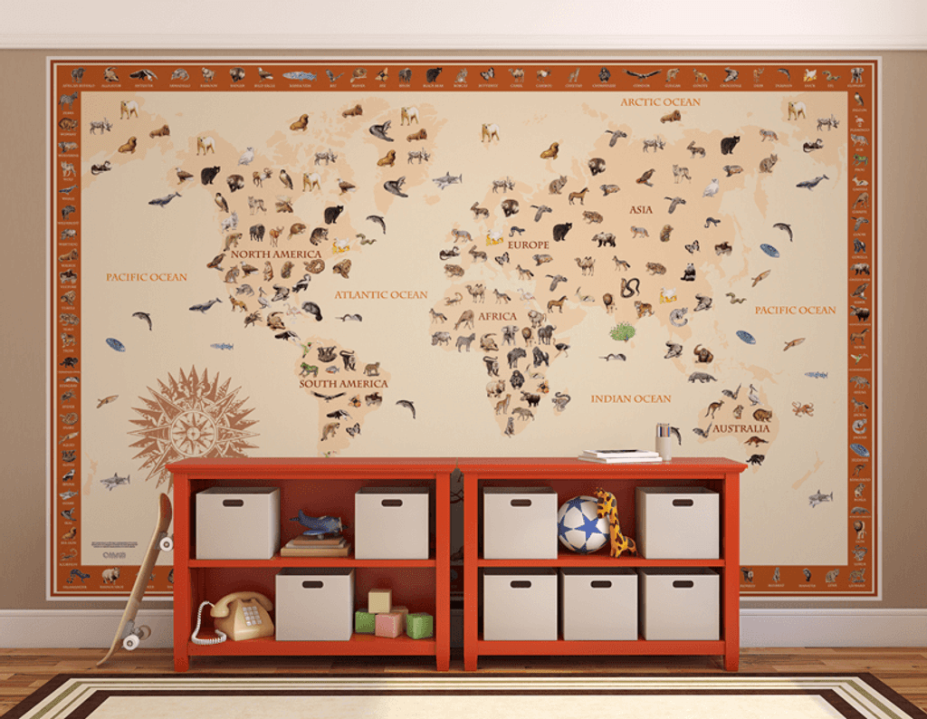 World Animals Map Kids' Wall Mural
