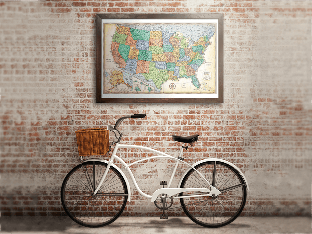Classic Edition U.S. Framed Wall Map