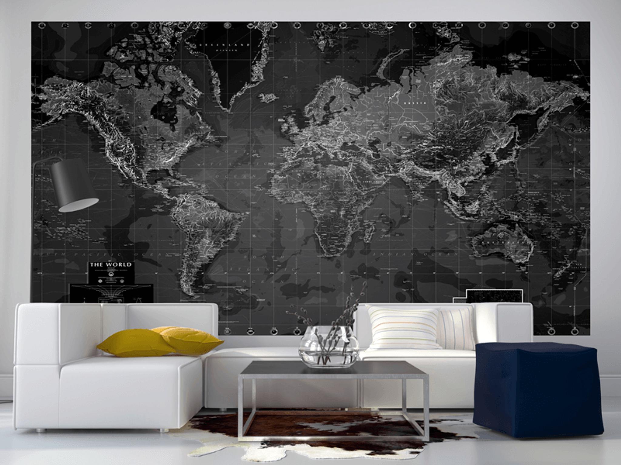 World Map Wall Mural black and white world map wall mural - rand mcnally store
