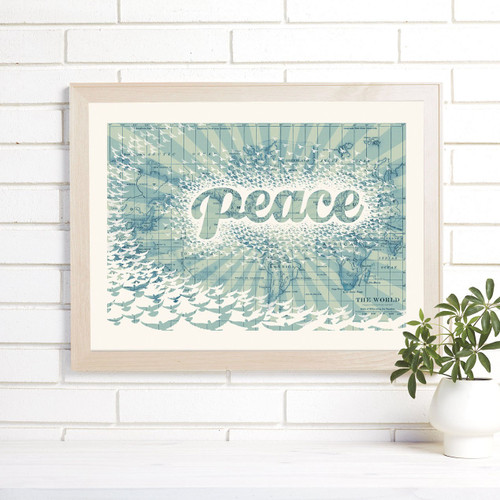 """Peace on Earth"" Lithograph Wall Map"