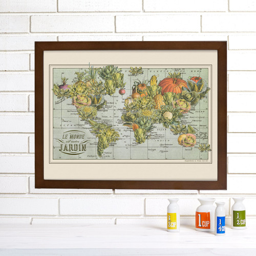 """Jardin Monde"" Lithograph Wall Map"