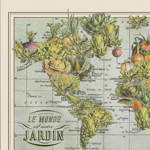 """Jardin Monde"" Lithograph Wall Map"