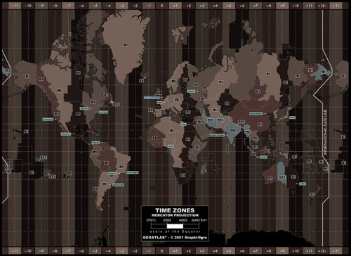 World Time Zones Wall Mural