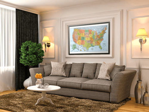Signature Edition U.S. Framed Wall Map