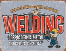 Metal - Tin Sign BUSTED KNUCKLE WELDING - Garage Sign