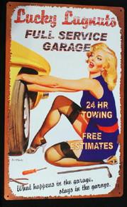 Metal - Tin SIgn - LUCKY LUGNUTS GARAGE Sign