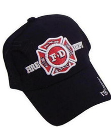 HAT - Fire Department 3 D Embrodiered Ball Cap - Black