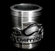 ORANGE COUNTY CHOPPERS Stainless Steel w/Pewter Can Cooler Desk Pen Holder