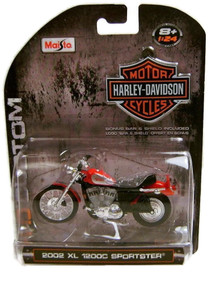 HARLEY DAVIDSON 2002 XLSportster 1200c Diecast 1:24 Red/Silver FREE SHIPPING