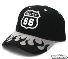 HAT - Route 66 3-D Embroidered w/Flames Adjustable Cap Grey Black FREE SHIPPING