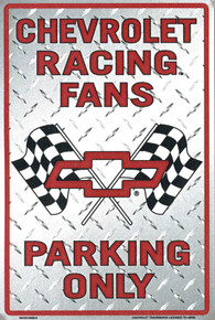 Metal - Tin 3-D Embossed Sign CHEVROLET RACING FANS Parking Man Cave Garage Sign