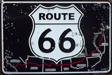 Metal - Tin 3-D Embossed Sign ROUTE 66 Shield with Map