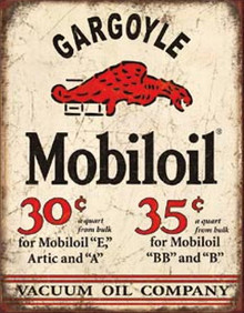 Metal - Tin Sign GARGOYLE -  MOBILOIL Vintage Style Garge Sign