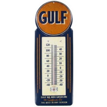 Thermometer GULF No Nox Gasoline - Metal Garage - Man Cave Sign