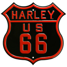 Metal - Tin 3-D Embossed Sign HARLEY DAVIDSON US Route 66 Die-cut
