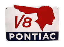 Metal - 3-D Embossed Sign PONTIAC V8 Garage Man Cave Sign