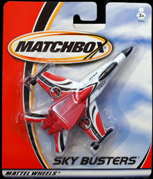 "Sky Busters Attack Jet MATCHBOX  5"" Diecast Airplane Red White"