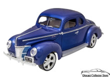 1940 Ford Coupe MOTORMAX CUSTOM CLASSICS Diecast 1:18 Scale Blue
