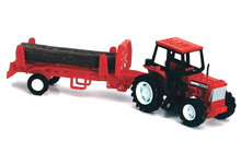 Country Life Farm Tractor with Logs and Trailer 1:32 Scale NEWRAY Red MIB