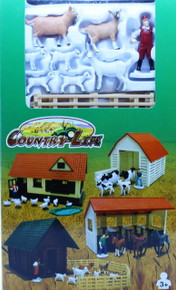 Country Life Playset Goats Sheep Log Shelter Farmer Fencing NEWRAY