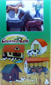 Country Life Playset Horses Stable Farmer NEWRAY