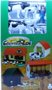 Country Life Playset 2 Cows 2 Bulls Barn and Farmer NewRay FREE SHIPPING
