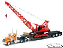 KENWORTH W900 Big Rig Low Boy Tractor Trailer with Crane NEWRAY Diecast 1:32