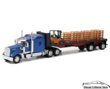 KENWORTH W900 Flatbed Semi Hauler with Forklift & Pallets NEWRAY Diecast 1:32