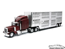 PETERBILT 379 Pot Belly Tractor Trailer Live Stock Hauler NEWRAY Diecast 1:32
