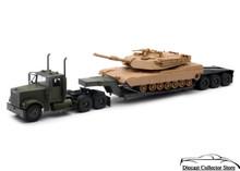 FREIGHTLINER Lowboy Semi Hauler U.S. Army M1A1 Tank NEWRAY Diecast 1:32 Sand