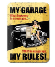 MY GARAGE MY RULES Metal LIGHT SWITCH COVER / PLATE Garage - Man Cave