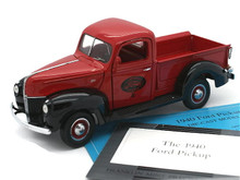 FRANKLIN MINT 1940 Ford Pickup Diecast 1:24 Scale Red & Black B11WH98