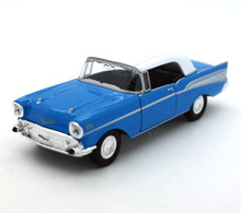1957 Chevrolet Chevy Bel Air Top Up Convertible WELLY Diecast 1:38 Scale Blue