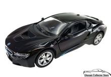 BMW i8 Plug-in Hybrid Sports Car KINSMART Diecast 1:36 Scale Black FREE SHIPPING