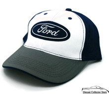Hat - Ford Embroidered Adjustable Ball Cap Blue Green & White FREE SHIPPING