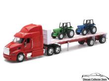PETERBILT Model 387 Flatbed Semi Hauler w/Farm Tractors NEWRAY Diecast 1:32
