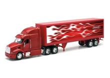 PETERBILT Model 387 Semi Hauler Tractor Trailer Van Red Flames NEWRAY Diecast 1:32 Scale