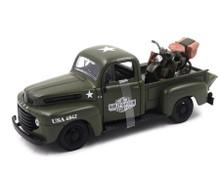 1948 Ford F1 ARMY Pickup 1948 WLA Flathead HARLEY DAVIDSON Diecast 1:24