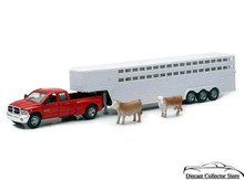 Dodge Ram 3500 Truck Fifth Wheel Horse Trailer 2 Cows Diecast 1:32 FREE SHIPPING
