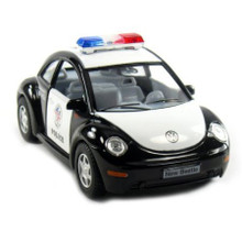 Volkswagon VW New Beetle POLICE Diecast 1:32 Scale Pullback Action FREE SHIPPING