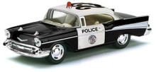 1957 Chevrolet Bel Air POLICE Kinsmart Diecast 1:40 Scale - Black & White