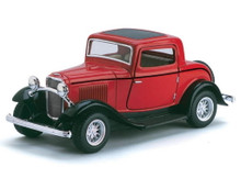 1932 Ford 3 Window Coupe Kinsmart Diecast 1:34 Scale - Red