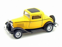 1932 Ford 3 Window Coupe Kinsmart Diecast 1:34 Scale  - Yellow
